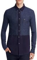 Scotch & Soda Colorblock Indigo Slim Fit Button Down Shirt