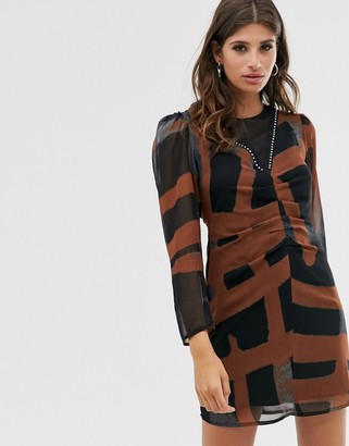 Religion ruched front mini dress in abstract print-Black