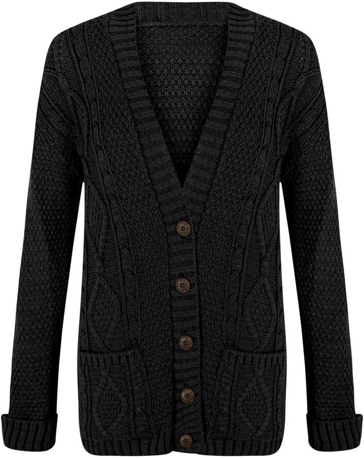 Womens Ladies Grandad Chunky Cable Knit Cardigan Button Long Sleeves Plus Sizes