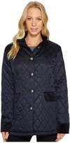Vince Camuto Quilted Jacket with Velvet Trim N8621 Women's Coat