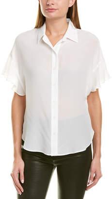Lavender Brown Spread Collar Silk Shirt