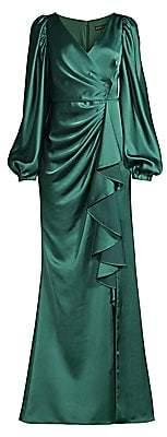 Aidan Mattox Women's Draped Puff-Sleeve Trumpet Gown