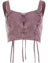 River Island Wopurple Lace-up Front Crop Top