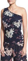 Rebecca Taylor Phlox Floral-Print Jersey One-Shoulder Tank, Navy