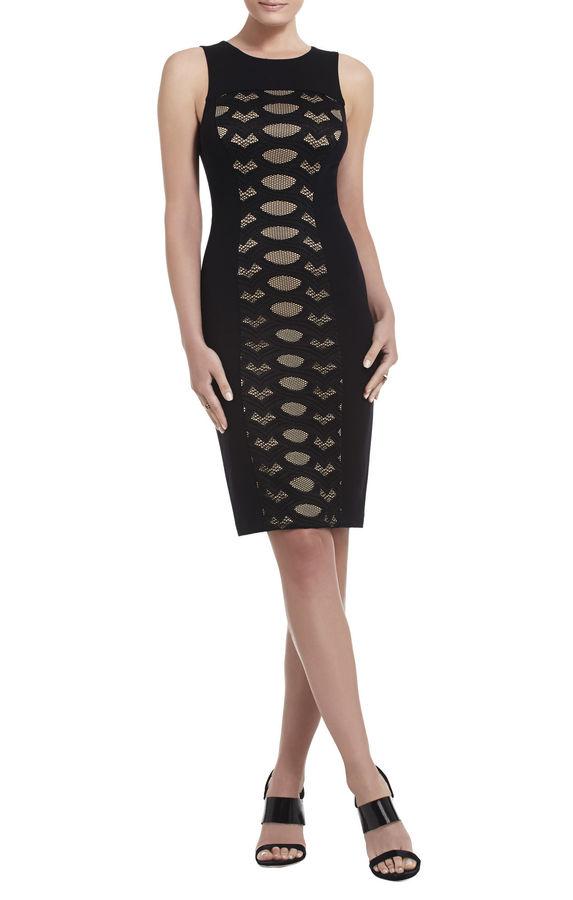 BCBGMAXAZRIA Leona Contrast-Knit Lace Dress