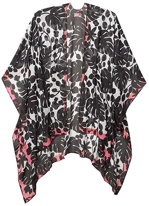 Kate Spade Monstera Grove Ruana (Black) Scarves