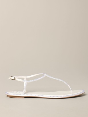 Rene Caovilla Reneacute; Caovilla Leather Sandal With Rhinestones