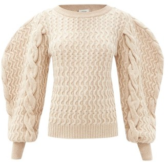 Lemaire Boat-neck Cabled-wool Sweater - Beige