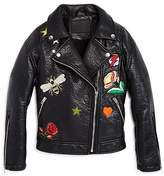 Blank NYC BLANKNYC Girls' Vegan Moto Jacket with Patches - Big Kid