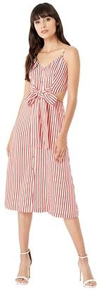 Jason Wu Fluid Stripe Front Tie Dress (Red/White) Women's Clothing