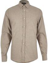 River Island MensBeige herringbone slim shirt