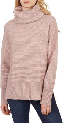 Sweet Romeo Cool Girl Ribbed Turtleneck Sweater