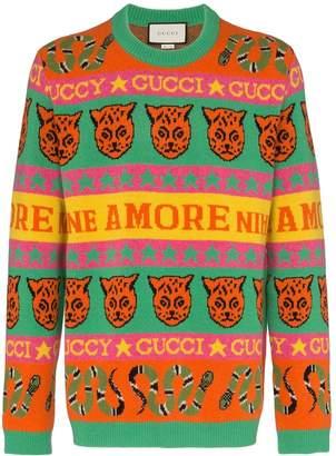 Gucci tiger snake striped wool jumper
