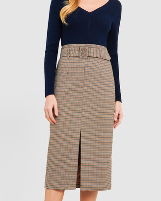 Forcast Talia Houndstooth Belted Skirt