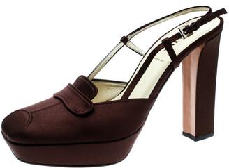 Prada Brown Satin Platform Block Heel Loafer Sandals Size 39.5