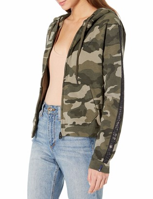 True Religion Women's Camo Rhinestone Hooded Fleece Jacket