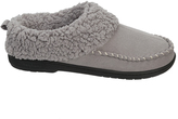 Dearfoams Medium Gray Faux Fur-Collar Slipper