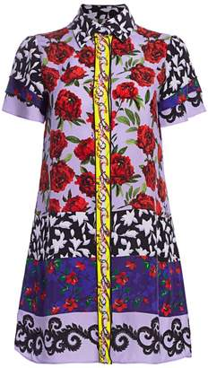 Alice + Olivia Jem Mixed Print Shirt Dress