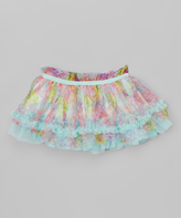 Baby Starters Teal & Pink Floral Chiffon Tiered Tutu - Infant