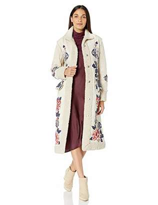 Johnny Was Biya by Women's Floral Embroidered Long Coat with Sherpa Cuffs
