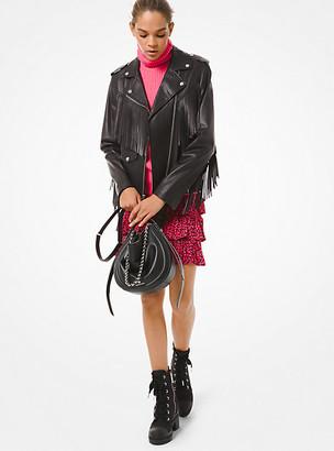 Michael Kors Fringed Leather Moto Jacket