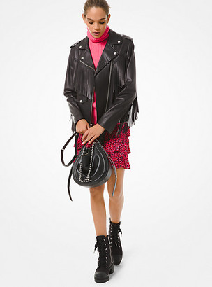 MICHAEL Michael Kors MK Fringed Leather Moto Jacket - Black - Michael Kors