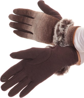 Sakkas 16166 - Sophie Ombre Knitted Faux Fur Wrist Band Touch Screen Capable Gloves - Dark Brown/White - L/XL
