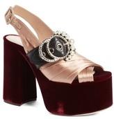 Miu Miu Women's Imitation Pearl Slingback Platform Sandal