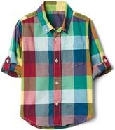 Gap Check madras convertible shirt