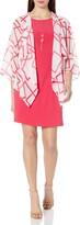 Tiana B Womens Geo Chiffon Printed Mock Jacket Over Solid Knit Sleeveless Dress
