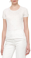 Akris Punto Pearly-Stud Knot-Sleeve T-Shirt, Cream