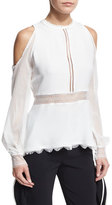 Jonathan Simkhai Silk Lace-Up Cold-Shoulder Shirt, Ivory