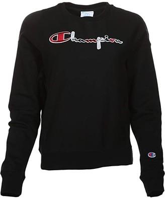 Champion Reverse Weave(r) Crew - 3 Color Script (Black) Women's Clothing