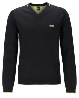 BOSS Regular-fit V-neck sweater with contrast detailing