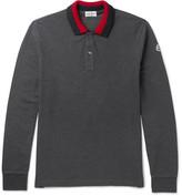 Moncler Stripe-trimmed Cotton-piqué Polo Shirt - Charcoal