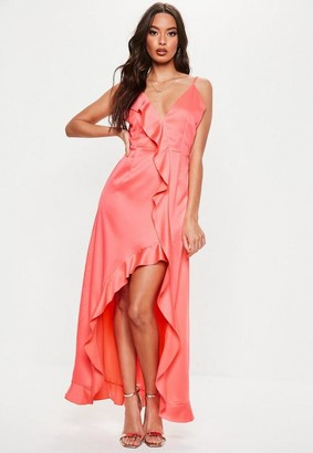 Missguided Petite Coral Frill Detail Maxi Dress