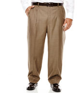 STAFFORD Stafford Travel Brown Sharkskin Pleated Suit Pants - Portly Fit