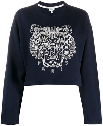 Kenzo Tiger-Embroidered Cropped Sweatshirt