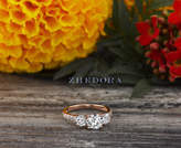 Etsy Three Stone Engagement Ring in Solid 14K or 18k Rose Gold , triple Stone Engagement Ring, Rose Gold