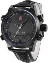 Shark Men's Sport LED Display Alarm Digital Analog Black Leather Quartz Oversized Wrist Watch SH205