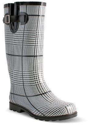 Nomad Footwear Women's Rain boots Black - Black & White Plaid Drench Rain Boot - Women