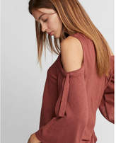 Express tie sleeve cold shoulder tee