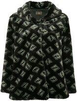 Fendi Pre Owned Pre-Owned Zucca pattern long sleeve coat