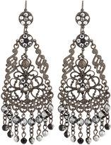 Jose & Maria Barrera Gunmetal Filigree Crystal Chandelier Earrings