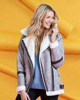 Fashion World Faux Borg Trim Aviator Jacket