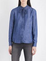 Levi's Ladies Blue Classic Katya Frilled-Collar Chambray Shirt