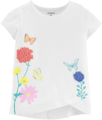 Carter's Toddler Girl Floral Butterfly Tulip Jersey Tee