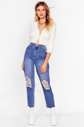 Nasty Gal Womens We Raw It Coming Distressed Mom Jeans - Blue - 6, Blue