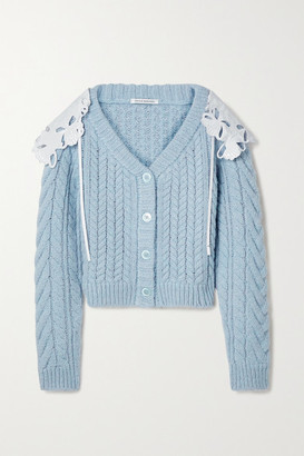 Cecilie Bahnsen Milo Poplin-trimmed Cable-knit Merino Wool-blend Cardigan - Sky blue