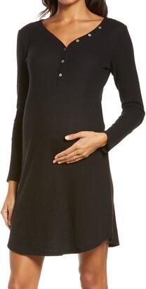 Belabumbum Henley Maternity/Nursing Sleep Shirt